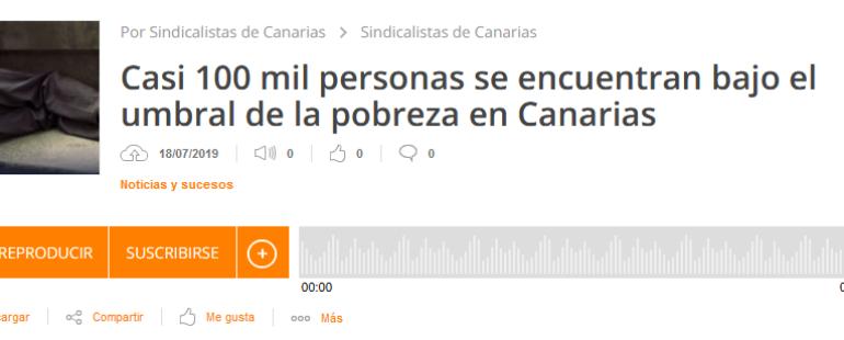 Cerca de 100 mil personas en Canarias se encuentran bajo el umbral de pobreza