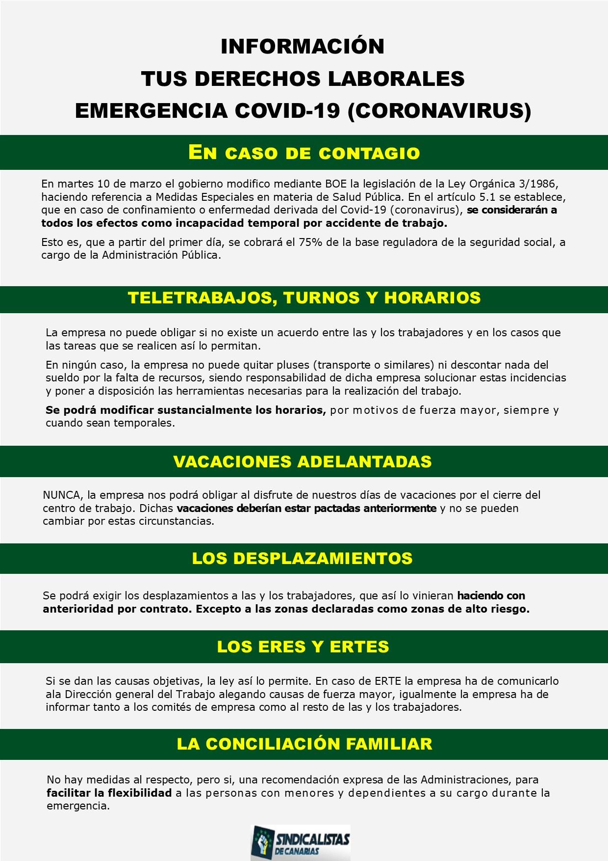 Información de tus derechos laborales por la emergencia sanitaria por el virus COVID-19 (Coronavirus)