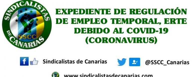 EXPEDIENTE DE REGULACIÓN DE EMPLEO TEMPORAL, ERTE DEBIDO AL COVID-19 (CORONAVIRUS)