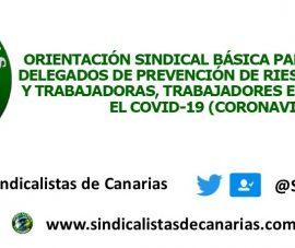 ORIENTACIÓN SINDICAL BÁSICA PARA DELEGADAS Y DELEGADOS DE PREVENCIÓN DE RIESGOS LABORALES, Y TRABAJADORAS, TRABAJADORES EN GENERAL ANTE EL COVID-19 (CORONAVIRUS)