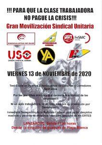 Sindicalistas de Canarias, se sumó este viernes 13 de noviembre en Lanzarote, a la caravana de coches programada por los sindicatos convocantes.