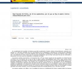 SUBIDA DEL SALARIO MÍNIMO INTERPROFESIONAL (SMI) 2021